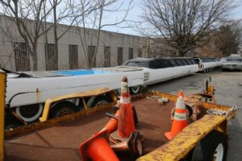 Image of 'The American Dream' car abandoned in a New Jersey warehouse