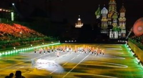 Image of Tri-Services band from the Indian Armed Forces Performing at Spasskaya Tower International Military Music Festival, 2017