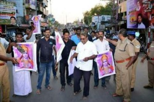 Image of A group of people in Tamil Nadu disrespecting the Hindu God Rama