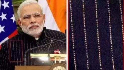 Image of Modi's monogrammed suit