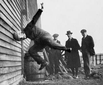 Image about Bizarre Picture of Testing Football Helmets in 1912