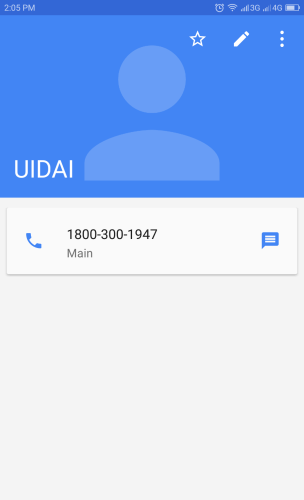 Image of UIDAI Contact Added to Android Phone