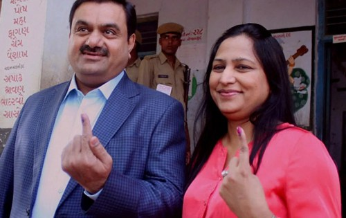 Image of Gautam Adani and his wife Priti Adani
