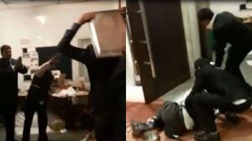 Images of brawl at a wedding in Hotel