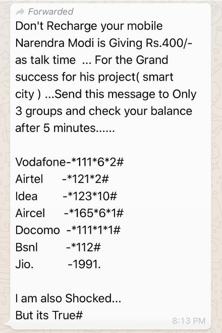 Screenshot of the spam message on WhatsApp
