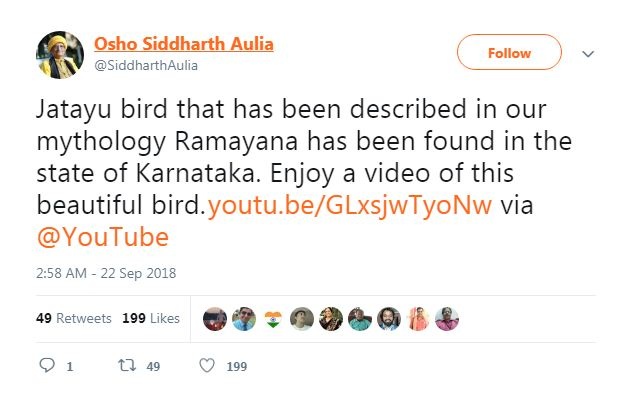 Screenshot of video story about Jatayu bird found in Karnataka