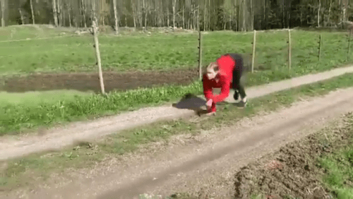Image from Viral Video of Woman Running Like Horse