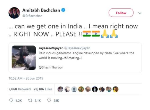 Screenshot of Amitabh Bachchan retweeting the video in story