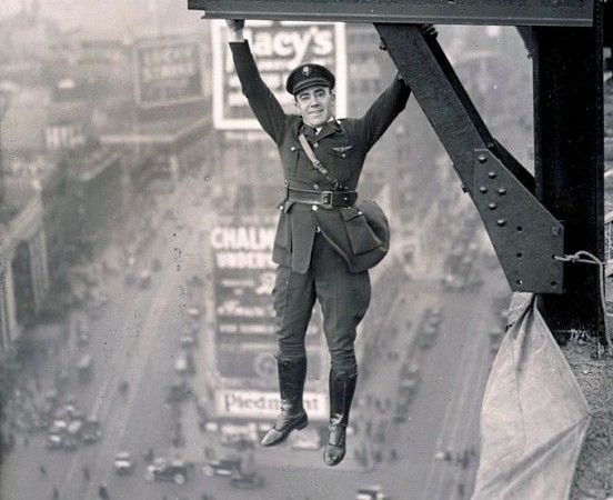 NY Policeman Hanging Over Times Square, 1920s Photo: Fact Check