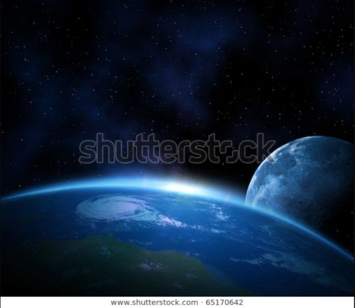 Illustrative stock picture showing 'Planet earth with sunrise and moon in space'