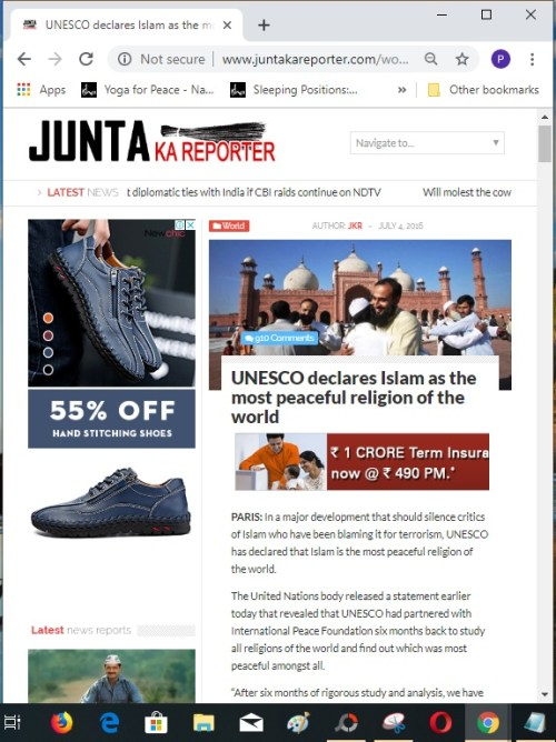 Screenshot of the article on Junta Ka Reporter website