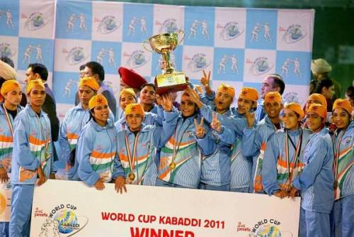 Image of India's Women's Kabaddi team players after winning the 2nd World Cup Kabaddi 2011 in Ludhiana