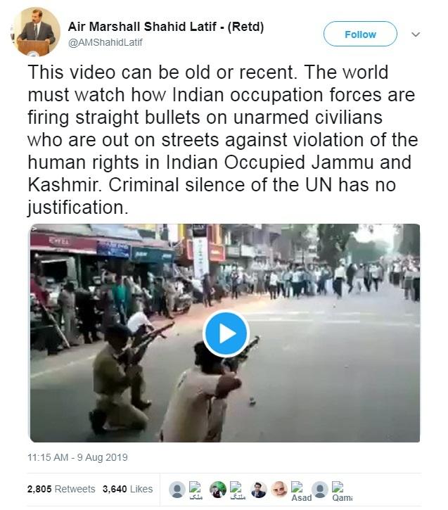 Screenshot of Tweet about Indian Security Forces Shooting Unarmed Kashmiris