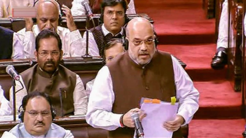 Image of Home Minister Amit Shah announcing Jammu and Kashmir Bifurcation in Rajya Sabha
