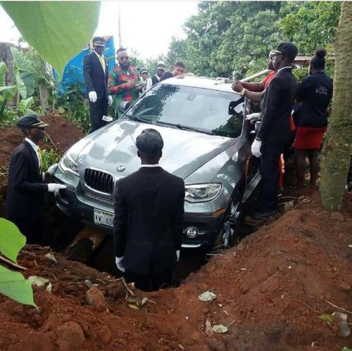 Image about Nigerian Man Buries Father in Brand New BMW Car