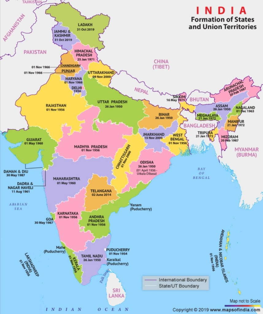 New Map of India showing 28 States and 9 Union Territories