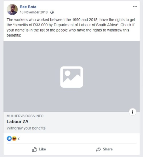 Image of Facebook post showing Similar old story in South Africa