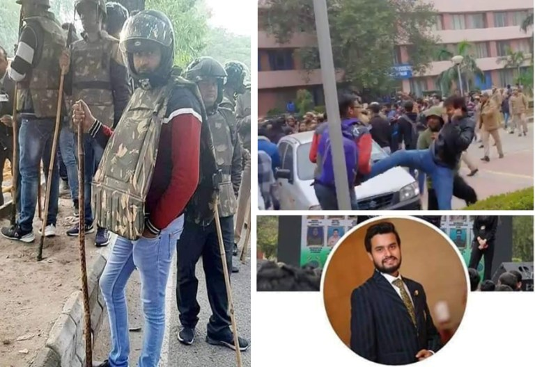Image about ABVP Member Hitting Girls in Police Gear Mid Jamia Protests