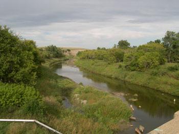 Image of Downstream view of Heart River near Mandan