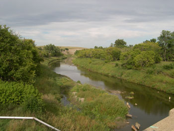 Image of Downstream view of Heart River near Mandan