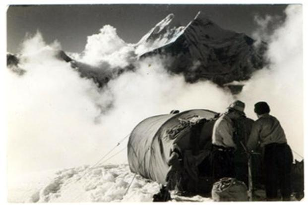 Image of Installation in progress at Nanda Kot camp with the Nanda Devi in the background