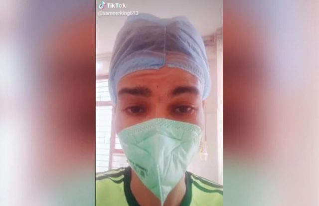 Image of TikTok user Sameer Khan in COVID-19 Isolation ward