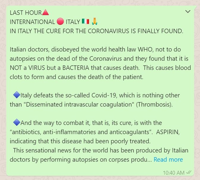 Image about Finally, Italy Found the Cure for Coronavirus - Bacteria
