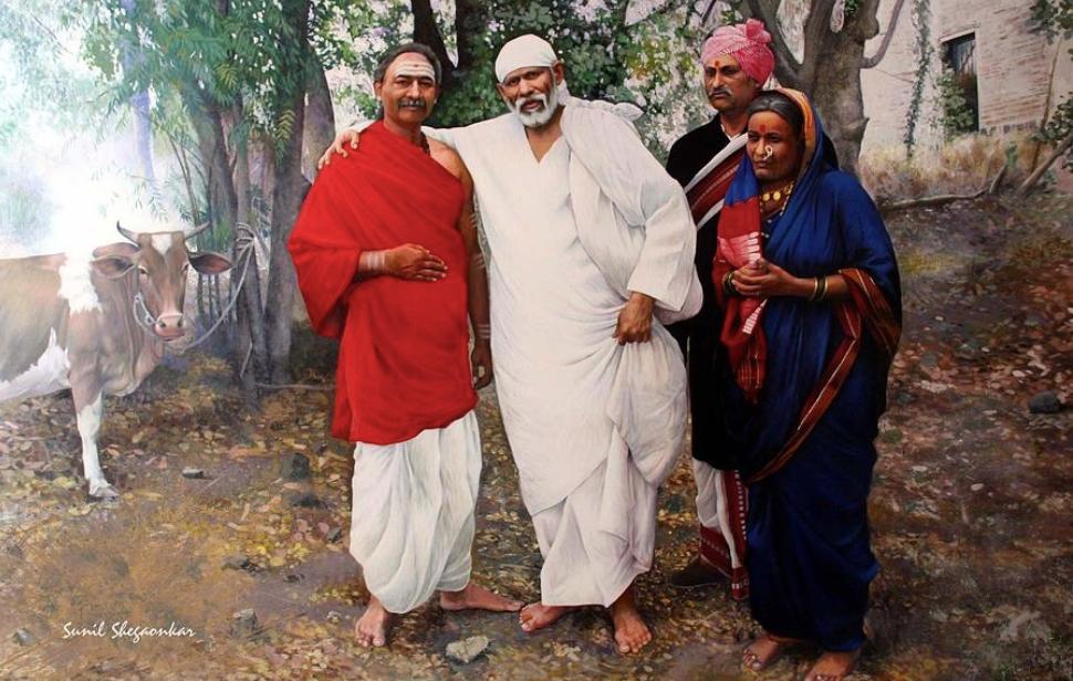 Sai with Baijabai and Mhalsapati, a painting by Sunil Shegaonkar