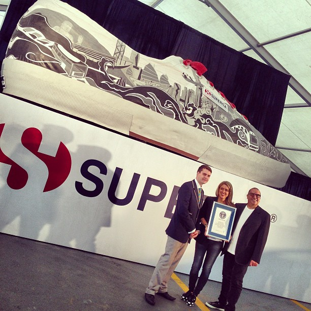 Image of World's Largest Shoe to celebrate the launch of footwear manufacturer Superga.