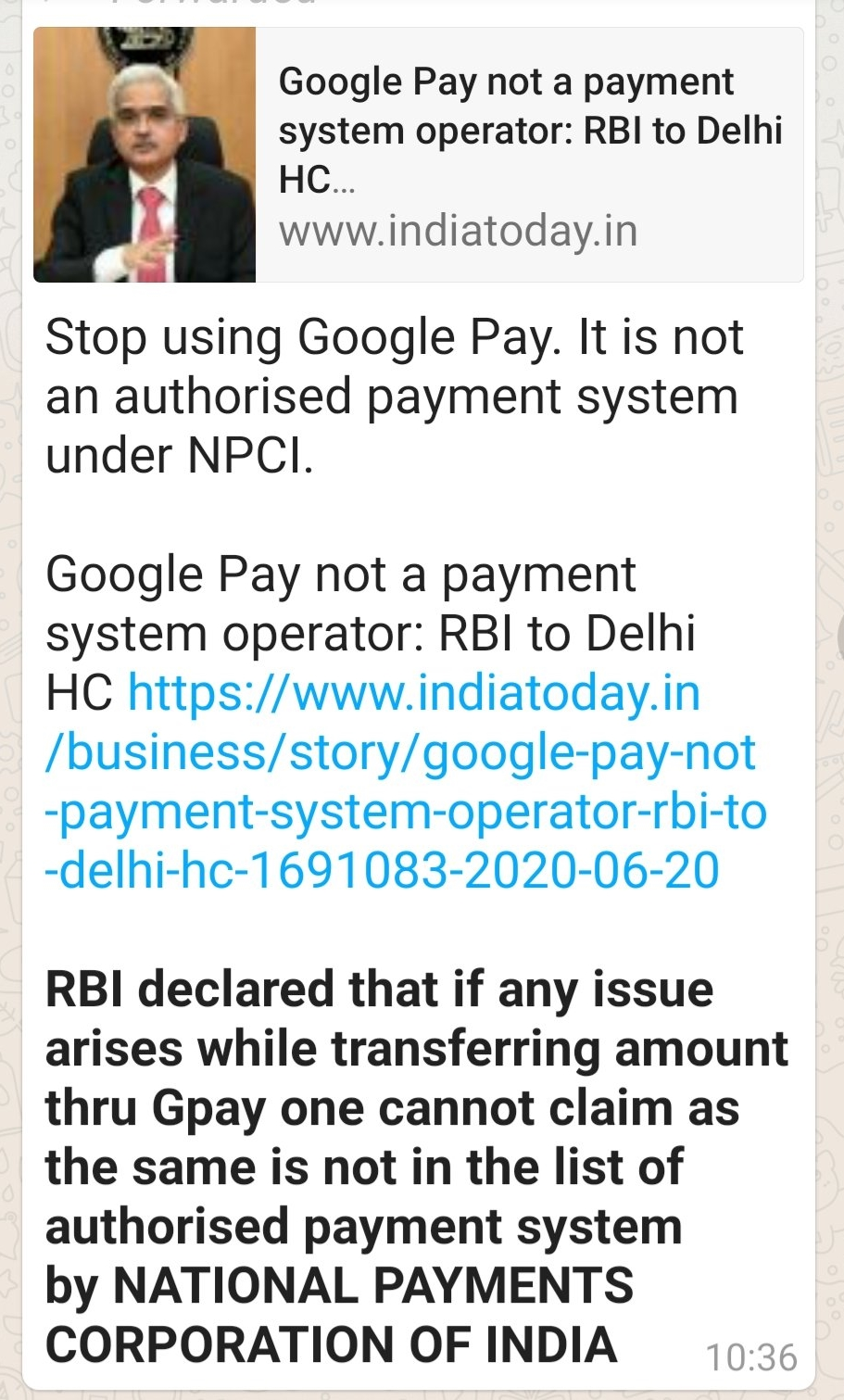 Image about RBI Banned Google Pay, Unsafe to Use