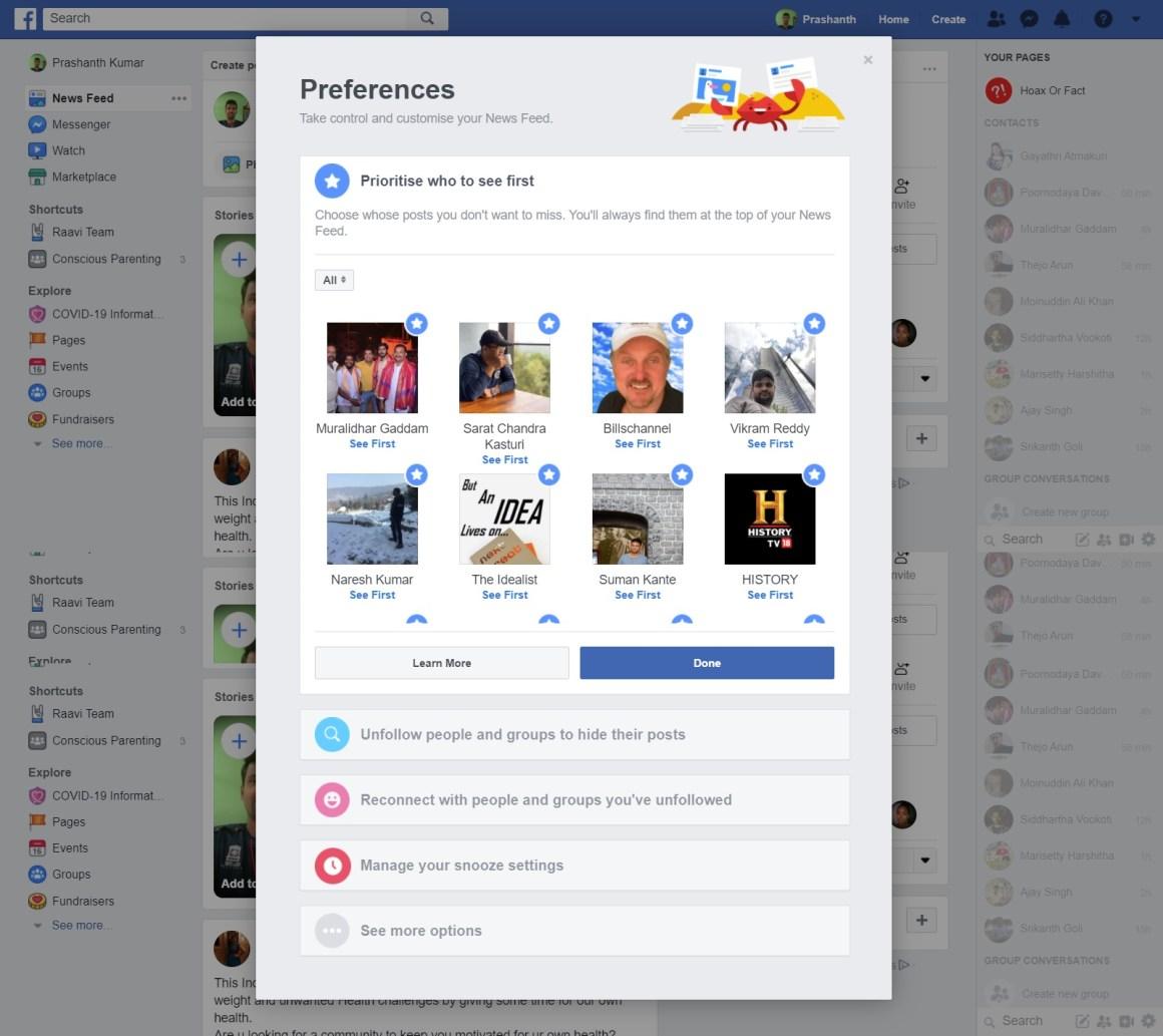 Image of 'News Feed preferences' on desktop version of Facebook