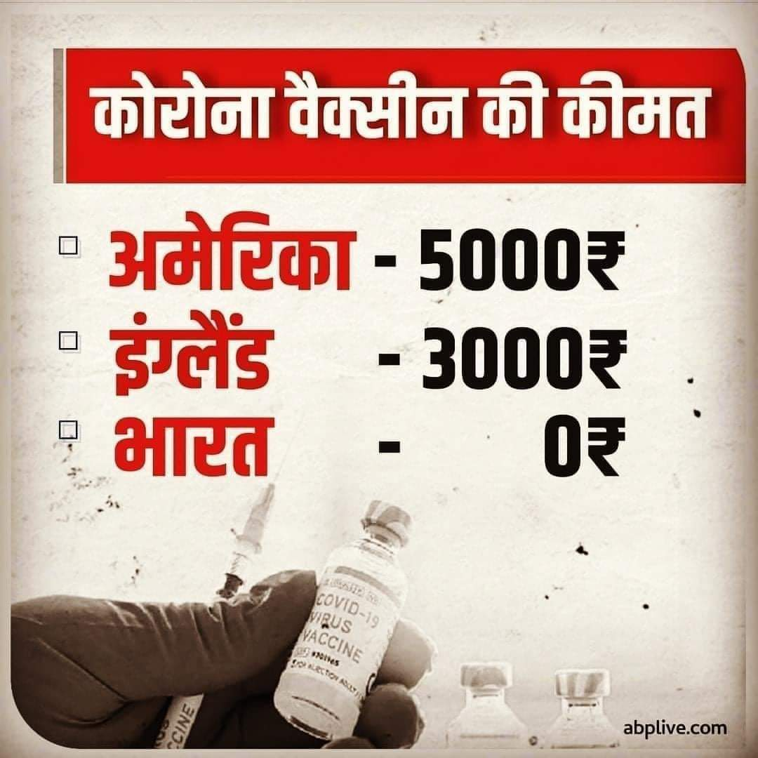 Image about Corona Vaccine Free of Cost in India, Not Other Countries