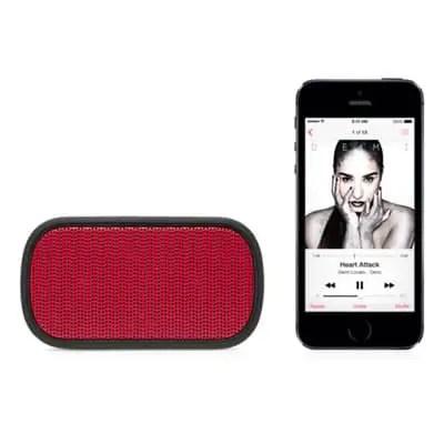 UE Mini Boom portable speaker and iPhone for size comparison