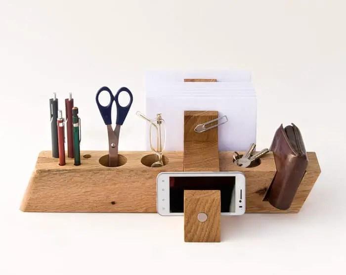 oldskool hardwood desk organizer