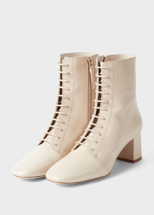 Imogen Leather Block Heel Lace Up Ankle Boots, Birch, HOBBS