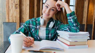 Female student with books.