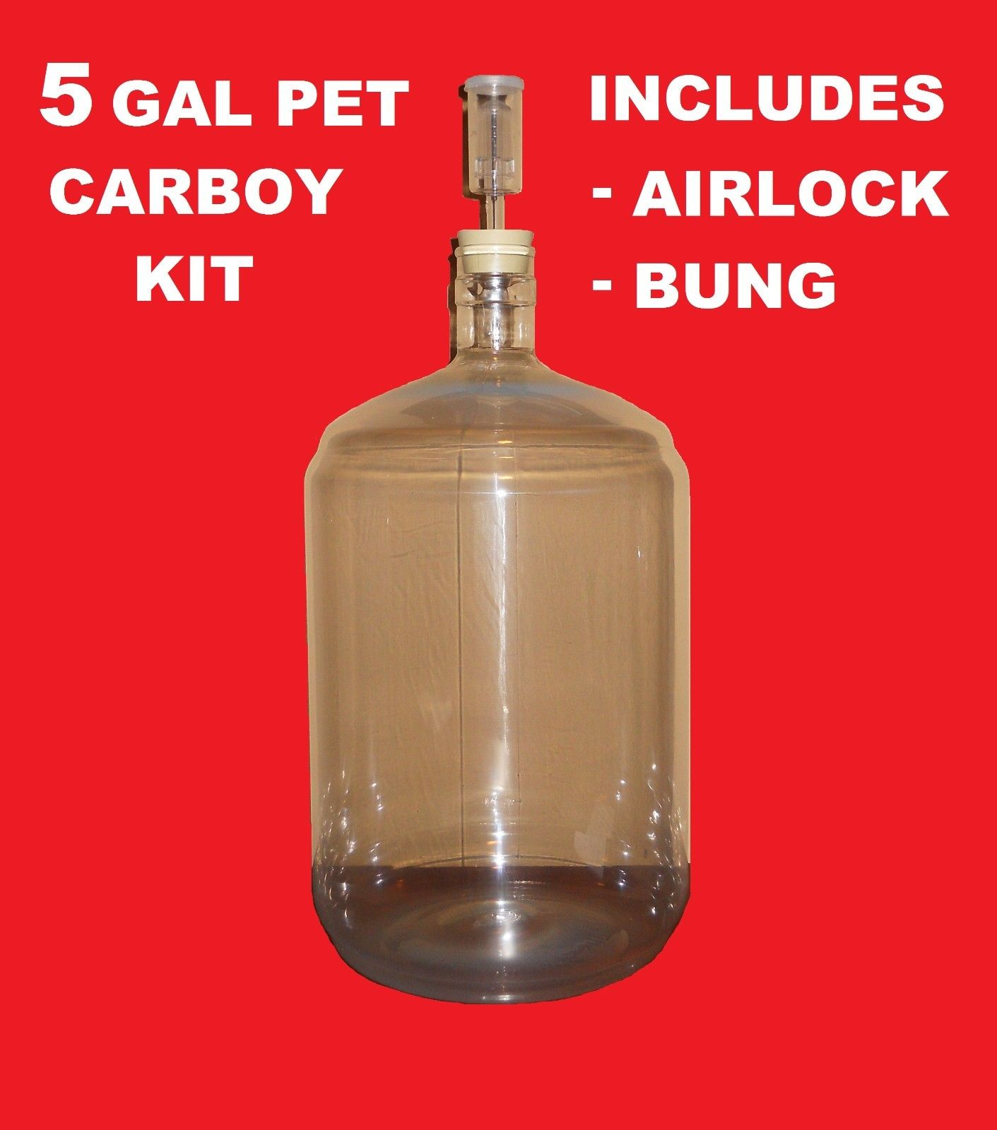 PET CARBOY KIT 5 GAL W AIRLOCK BUNG FOR SECONDARY FERMENTATION OF BEER WINE