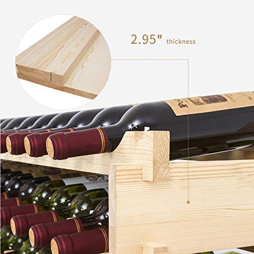 Mecor Wine Rack Shelf Standing Floor Wooden Stackable Wine Bottle Storage  Shelves (7 Tier( 91 Bottles))