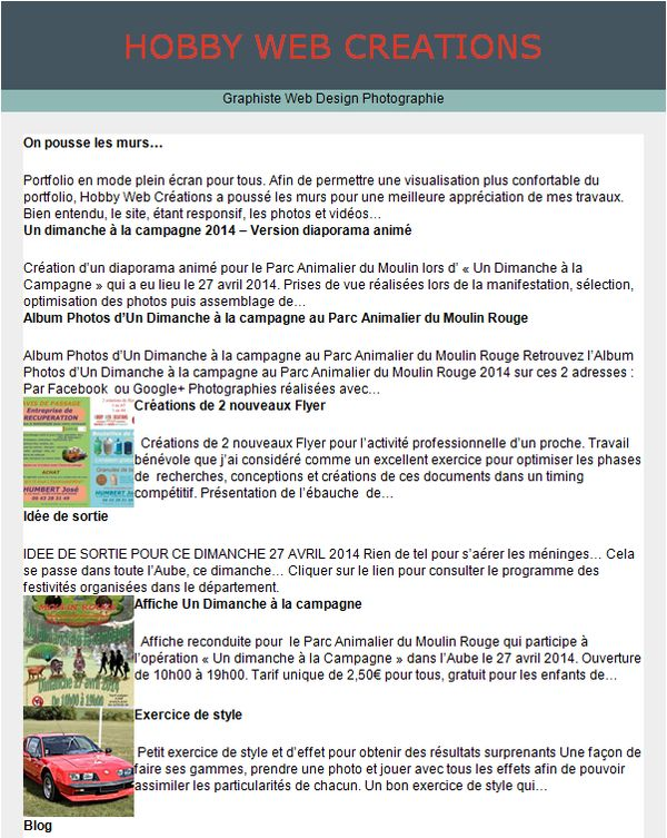 Newsletter d'Hobby Web Créations