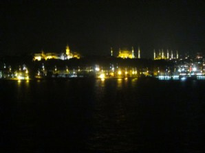 Hagia Sophia in the middle, Blue Mosque on the right