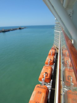 The view of the lifeboats from our Concierge-class stateroom