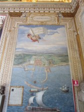 Ah, there's the Hall of Maps...well, at least it's the map of Civitivecchia, where our cruise would depart from