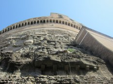 Looking up from the base of the circular Castel