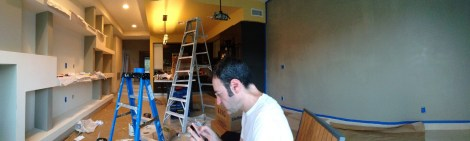 A panoramic view while taking a break after putting on a first coat on that facing wall.