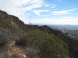 The Hollywood Sign is right below that antenna, but not visible