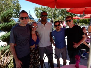 Larry, Nicki, Jamal, Brian and Kevin take refuge from the sun