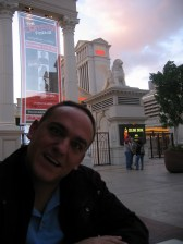 Making funny faces at the bar outside Caesars