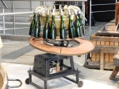 There were various champagne manufacturing devices on display