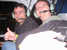 ...there's Byron and Robbie in the helicopter...