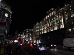 Back in London! Here on Regent Street at night